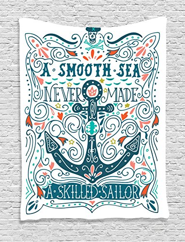 Ambesonne Anchor Decor Collection, Label with Anchor and Crossbones Quotes a Smooth Sea Never Made a Skilled Sailor Image, Bedroom Living Room Dorm Wall Hanging Tapestry, Orange Blue (Skull Cross Pink Flowers)