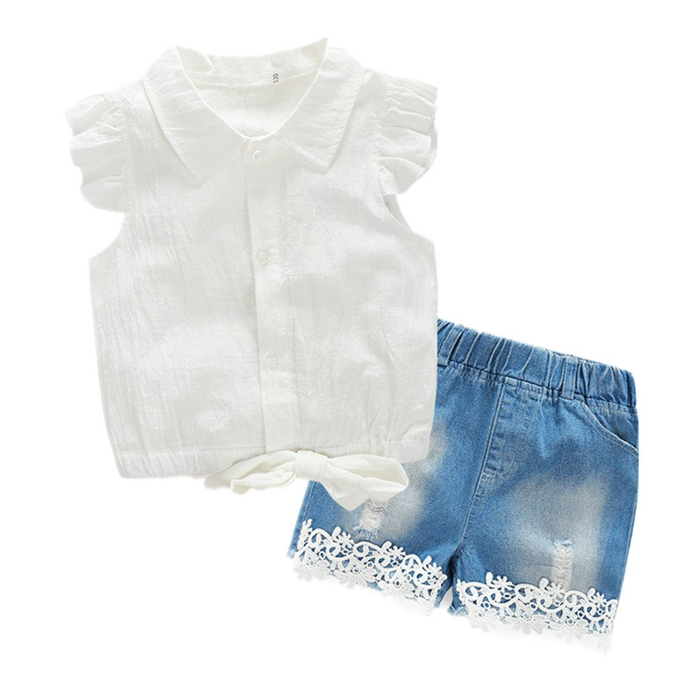 Beide Girls Summer Outfits 2 Piece Jean Shorts and Short Sleeve Bowknot Shirts (9-10T, White)