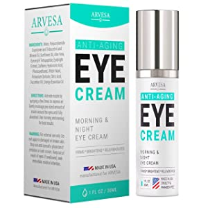 Anti Aging Eye Cream For Dark Circles and Puffiness - with Hyaluronic Acid - Vitamin C + E - Eye Serum to Reduce Eye Bags - Wrinkles - Fine Lines - Puffiness - for Women & Men - Made in USA