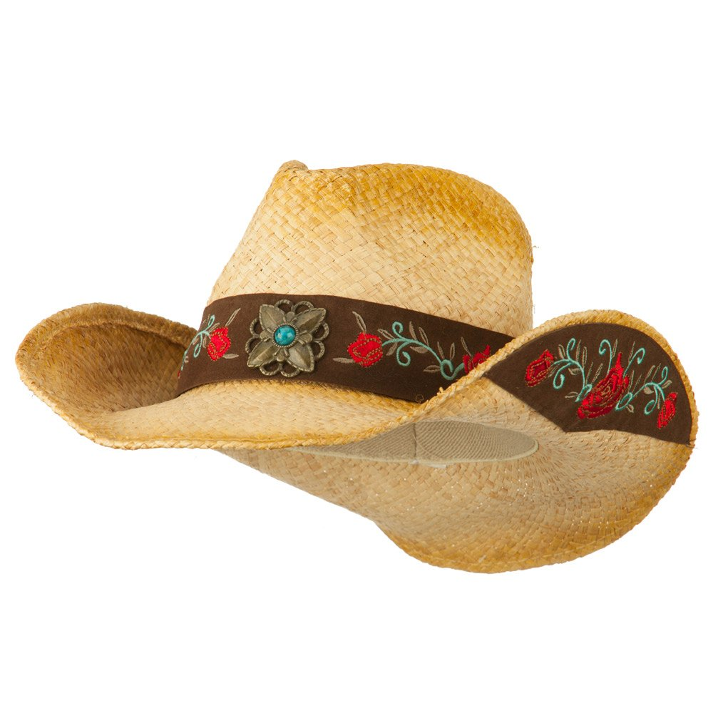 Women's Flower Band Raffia Cowboy Hat - Red OSFM