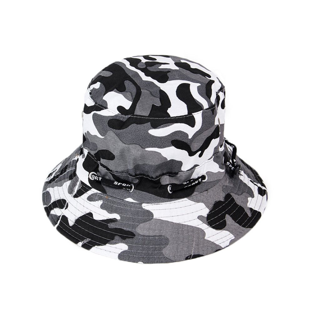 Chytaii Sombrero de Pesca Camuflaje Sombrero de Sol en algod/ón Unisex Anti-Soleil UV Bob Hat Plegable protecci/ón Solar Facial en Verano Outdoor #1 56-58cm