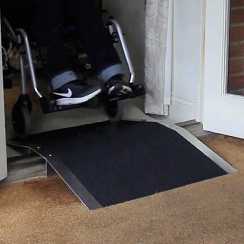 JLXJ Rampas Rampa de Entrada de Aluminio para Sillas de Ruedas, Umbral de Transición, Escaleras, Escalones, Puertas Portátiles Rampas con Marco de Soporte, Superficie Antideslizante (Size : 70×35cm)
