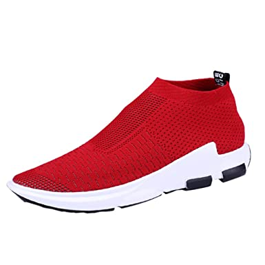 competitive price 74cf0 ee0a9 Men s Lightweight Walking Athletic Shoes Casual Breathable Running Slip-on  Sneakers Outdoors Jogging Socks Shoes US 7-9.5 at Amazon Women s Clothing  store