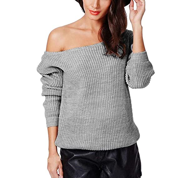 Amazon.com: Teresamoon Women Loose Long Sleeve Fall Winter Off Shoulder Sweater Solid Shirt Top: Clothing