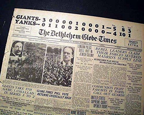 NEW YORK YANKEES vs. Giants Subway World Series of MLB Baseball 1936 Newspaper THE BETHLEHEM GLOBE-TIMES, Pennsylvania, October 5, 1936