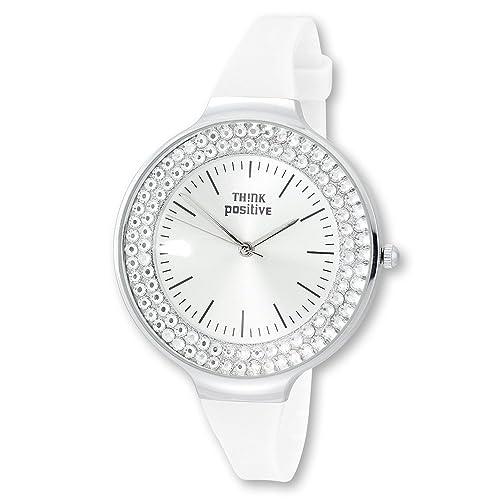 THINK positive Damen-Uhr Crystal Analog Fashion Silikon-Armband weiß Quarz-Uhr UTP1003W
