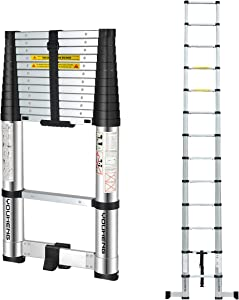 Telescoping Ladder with Rotary Stabilizer Bar,ONE-Button RETRACTION Design 12.5FT Telescopic Extension Step Ladder,EN131 Certified Compact Ladder for Household Daily or Hobbies,330 Lb Capacity