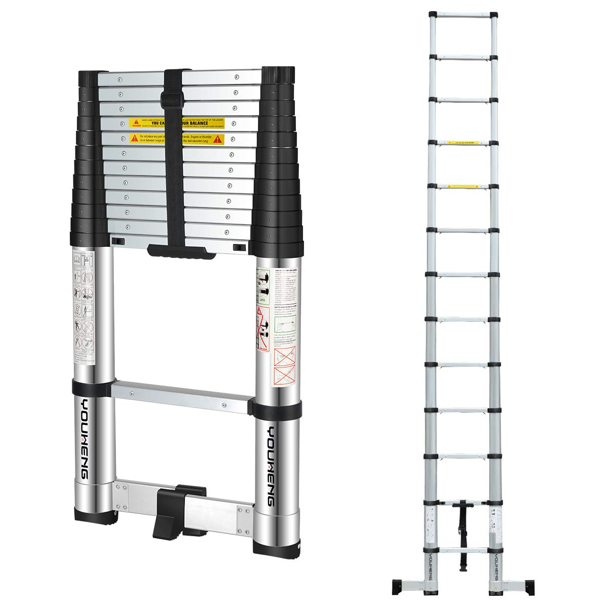 YouHeng Telescoping Ladder with Rotary Stabilizer Bar,ONE-BUTTON RETRACTION Design 12.5FT Telescopic Extension Step Ladder,EN131 Certified Compact Ladder for Household Daily or Hobbies,330 Lb Capacity