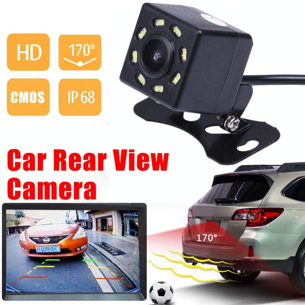 Glumes Universal Car Backing Camera - 170°, 8 LED Lights Night Vision, Color CMOS II, Waterproof, Multi-Function Car Reversing Rear View/Side View/Front View (Black)
