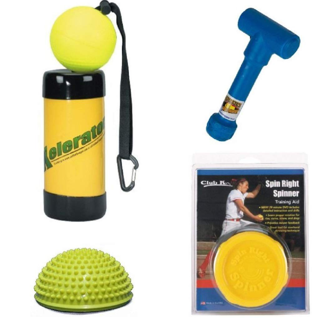 Spin Right Spinner + Power POD + XELERATOR + Ernie Parker's Wrist Snapper Fastpitch Softball Pitching Training Aids Equipment Gear by Buckeye Nation Sales