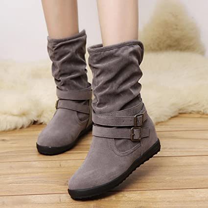 e05eb5e693 HOT Sale ,AIMTOPPY Ladies Womens Low Wedge Buckle Biker Ankle Trim Flat  Ankle Boots Shoes (US:8.5, Gray)