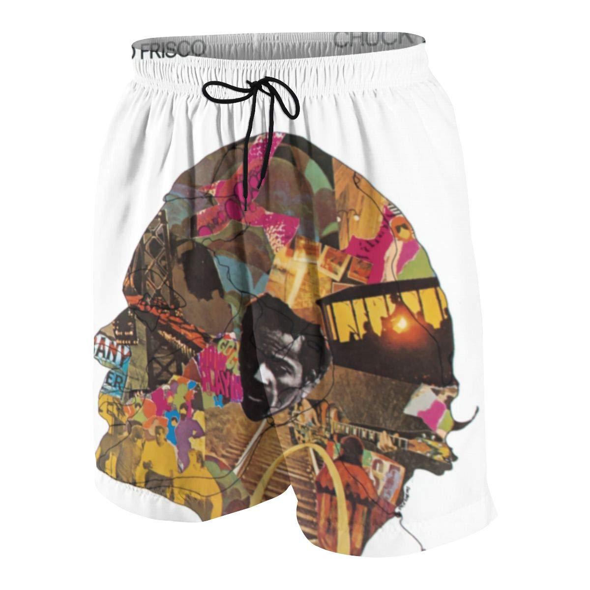 JacobKThompson Chuck Berry Summer Adolescent Men Leisure Quick Dry Surfing Beach Shorts Elastic Band Pocket Drawstring