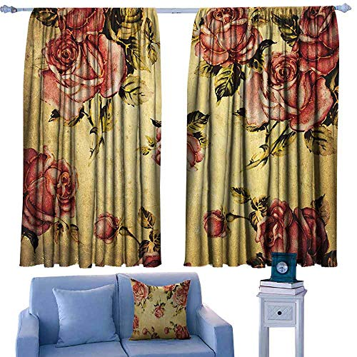 Mannwarehouse Windshield Curtain Roses Decorations Old-Fashioned Victorian Style Rose Pattern with Dramatic Color Boho Art Design Darkening and Thermal Insulating 55