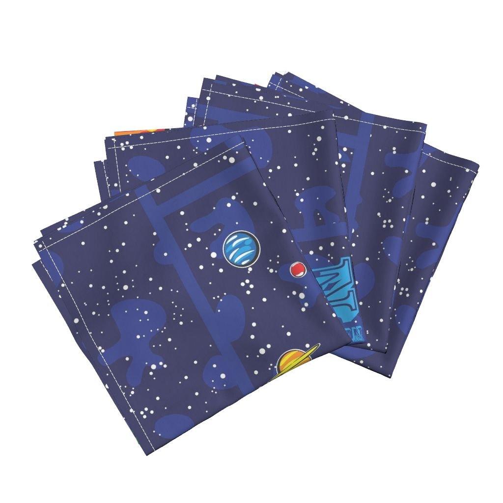 Space Astronaut Solar System Stars Alphabet Cheater Baby Linen Cotton Dinner Napkins Our Solar System Cheater by Robyriker Set of 4 Dinner Napkins