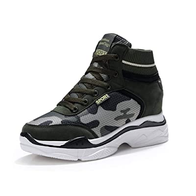 XXHC Women's Camouflage High-Heeled Sneakers Army Green Height Increase Shoes | Fashion Sneakers