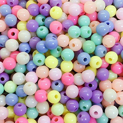 10 Mm Round Acrylic - B&S FEEL 10mm Acrylic Round Ball Loose Beads for Jewelry Making, Pack of 1000 (Colorful)
