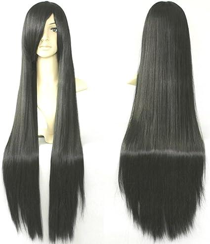 HOOLAZA Peluca Cosplay recta larga y negra 100 cm Enma Ai Akiyama Mio Kikyou peluca cosplay: Amazon.es: Belleza