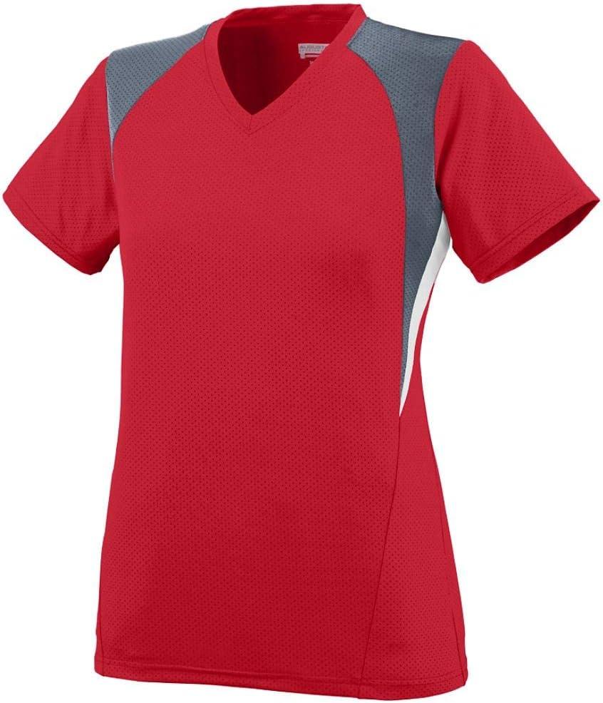 Augusta Sportswear Girls' Mystic Jersey L Red/Graphite/White