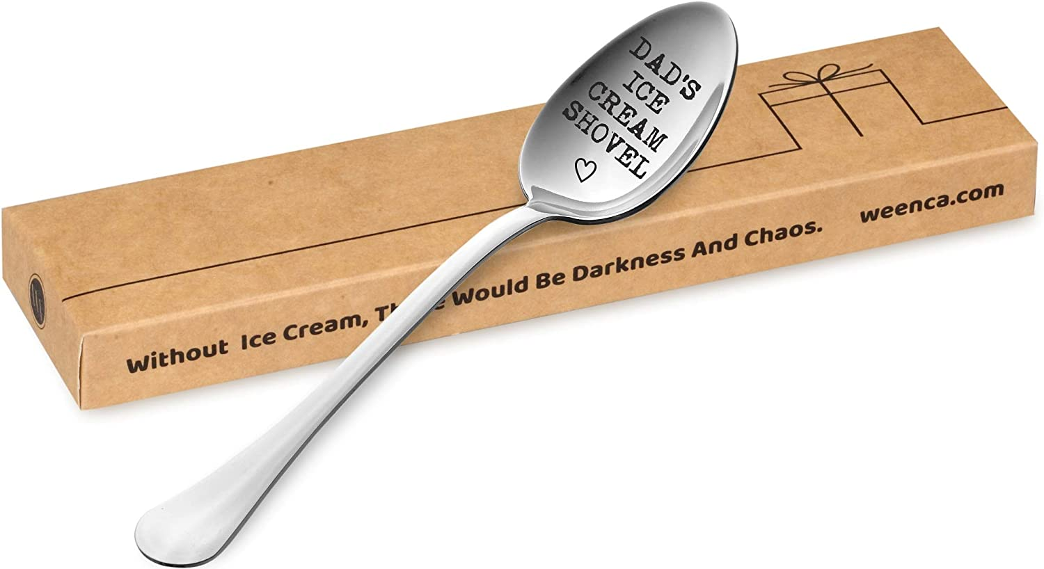 Weenca Engraved Dessert Spoon Dads Ice Cream Shovel Practical Gift for Dad Sturdy Stainless Steel Ice Cream Spoon Emotional Dad Gifts for Fathers Day or Christmas Gothic Style Font