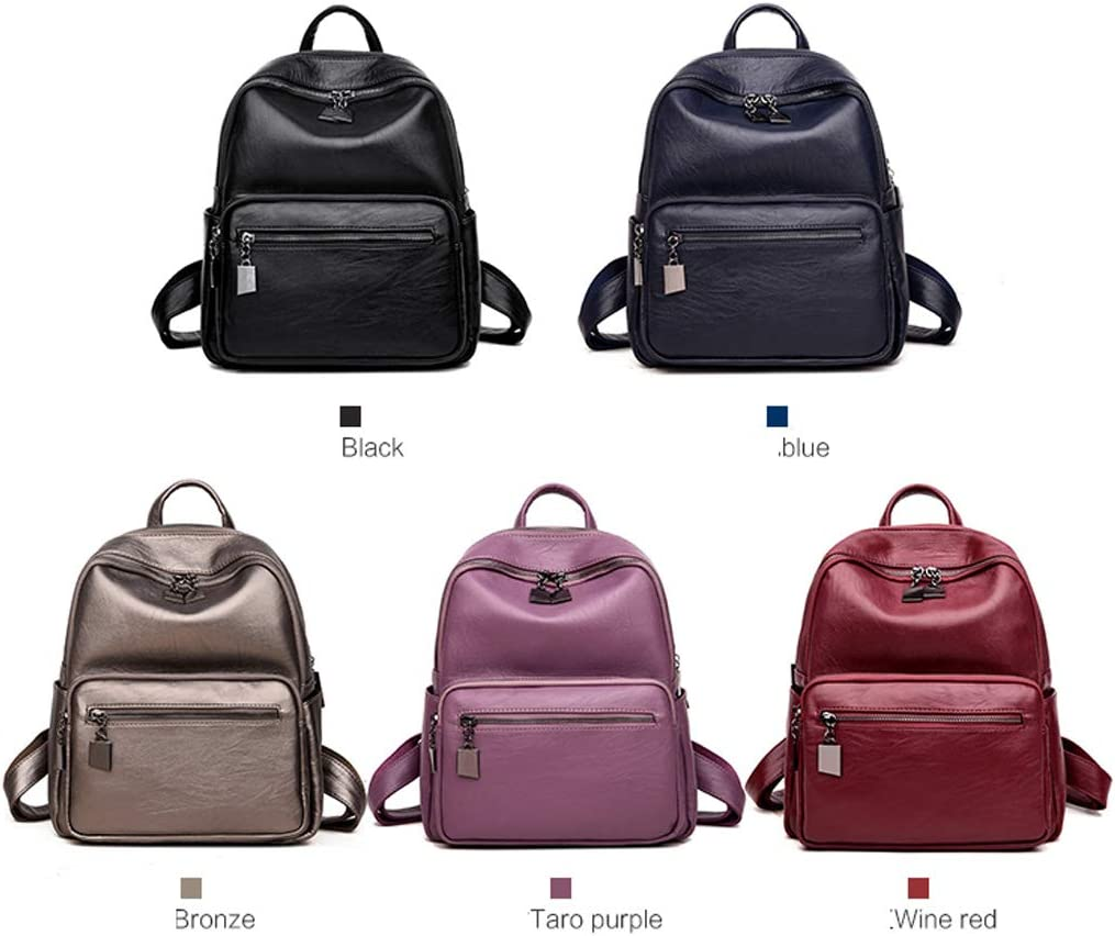 PU Leather Haoyushangmao Girls Multifunctional Backpack for Daily Travel//Outdoor//Travel//School//Work//Fashion//Leisure Black//Blue//Red//Brown//Bronze Large Capacity.