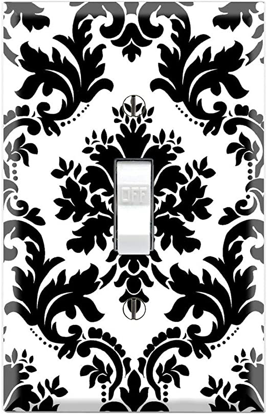 BLACK GRAY DAMASK LIGHT SWITCH COVER PLATES OUTLETS CLASSIC STYLE