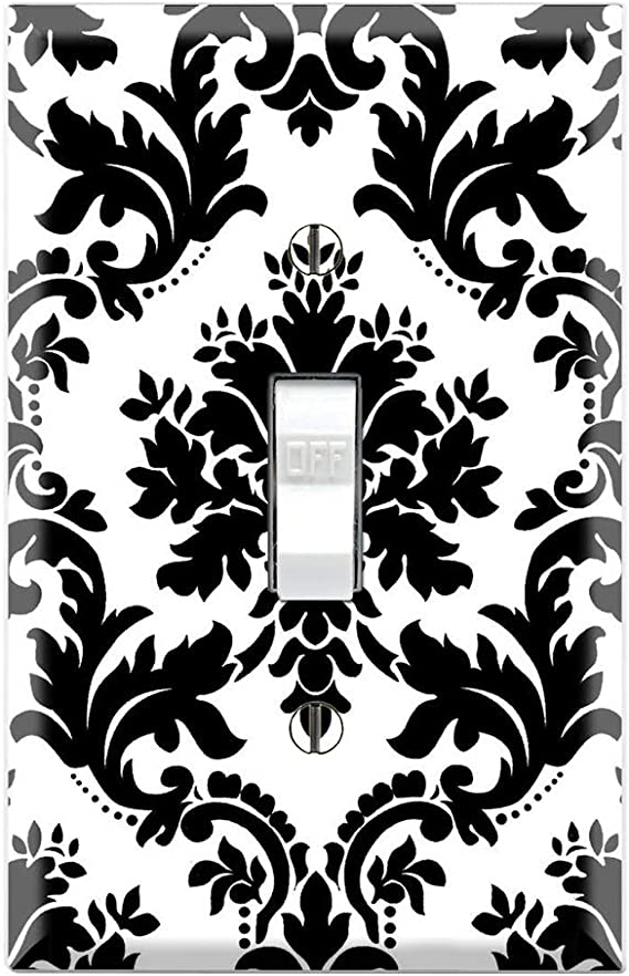 Graphics Wallplates Black And White Damask Single Toggle Wall Plate Cover Amazon Com