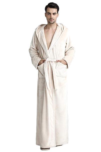 3718bc51c0 Cahayi Plush Thick Bathrobe Women Men Unisex Hooded Robe Sleepwear  Housecoat Beige