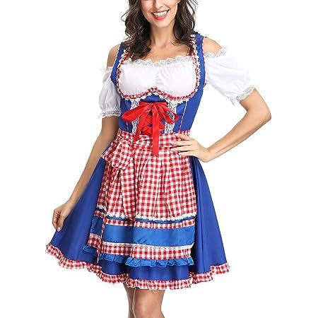 Julymall Vestido de Dirndl alemán para Mujer, Disfraces del ...