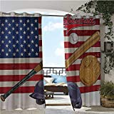Outdoor Privacy Curtain for Pergola, USA American Flag and Baseball Equipment Championship Tournament Inspired Artwork, Thermal Insulated Water Repellent Drape for Balcony W96 x L108 Inch Multicolor