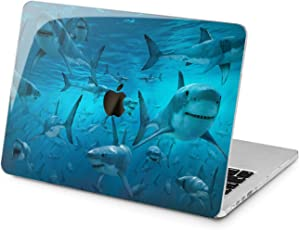 "Cavka Hard Shell Case for Apple MacBook Pro 13"" 2019 15"" 2018 Air 13"" 2020 Retina 2015 Mac 11"" Mac 12"" Design Laptop Deep Protective Glam Cover Blue Ocean Fish White Predators Plastic Sharks Print"