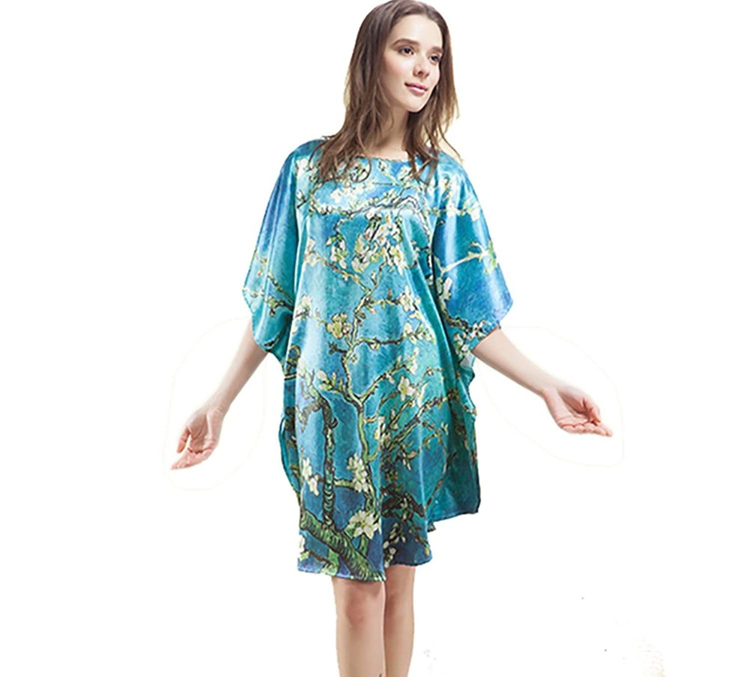 SILKTALK Ladies Blue Plus Size 1/2 Bat Sleeves Nightgown Sleepwear 100% Silk Plum Print Negligee Nightdress