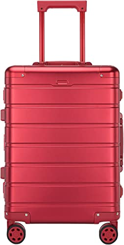 Aluminum Carry On Luggage 20 Inches – Lightweight Suitcase 360 Spinner Plus Telescoping Handle – TSA Approved Lock – Red