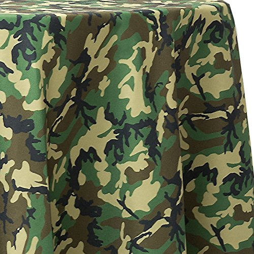 Ultimate Textile Woodland Camo 60-Inch Round Tablecloth - Fits Tables Smaller Than 60-Inches in Diameter