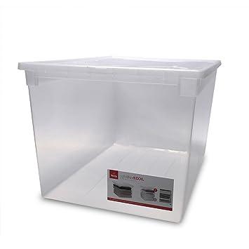 Innovativ XXL Aufbewahrungsbox mit Deckel aus transparentem Kunststoff und  WK19