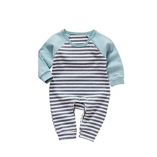 4dd12ed4b401 Amazon.com  JanLEESi Baby Boys Stripe Romper Jumpsuits Toddler Long ...