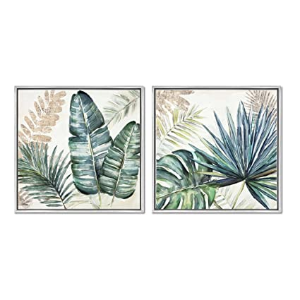 4657e5e5f Crescent Art Framed Summer Tropical Green Plant Palm Tree Leaves Painting  on Canvas Print Wall Art