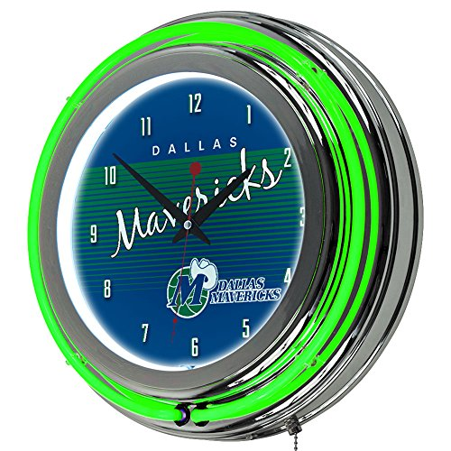 Trademark Global NBA Dallas Mavericks Chrome Neon Clock, One Size, Chrome by Trademark Global