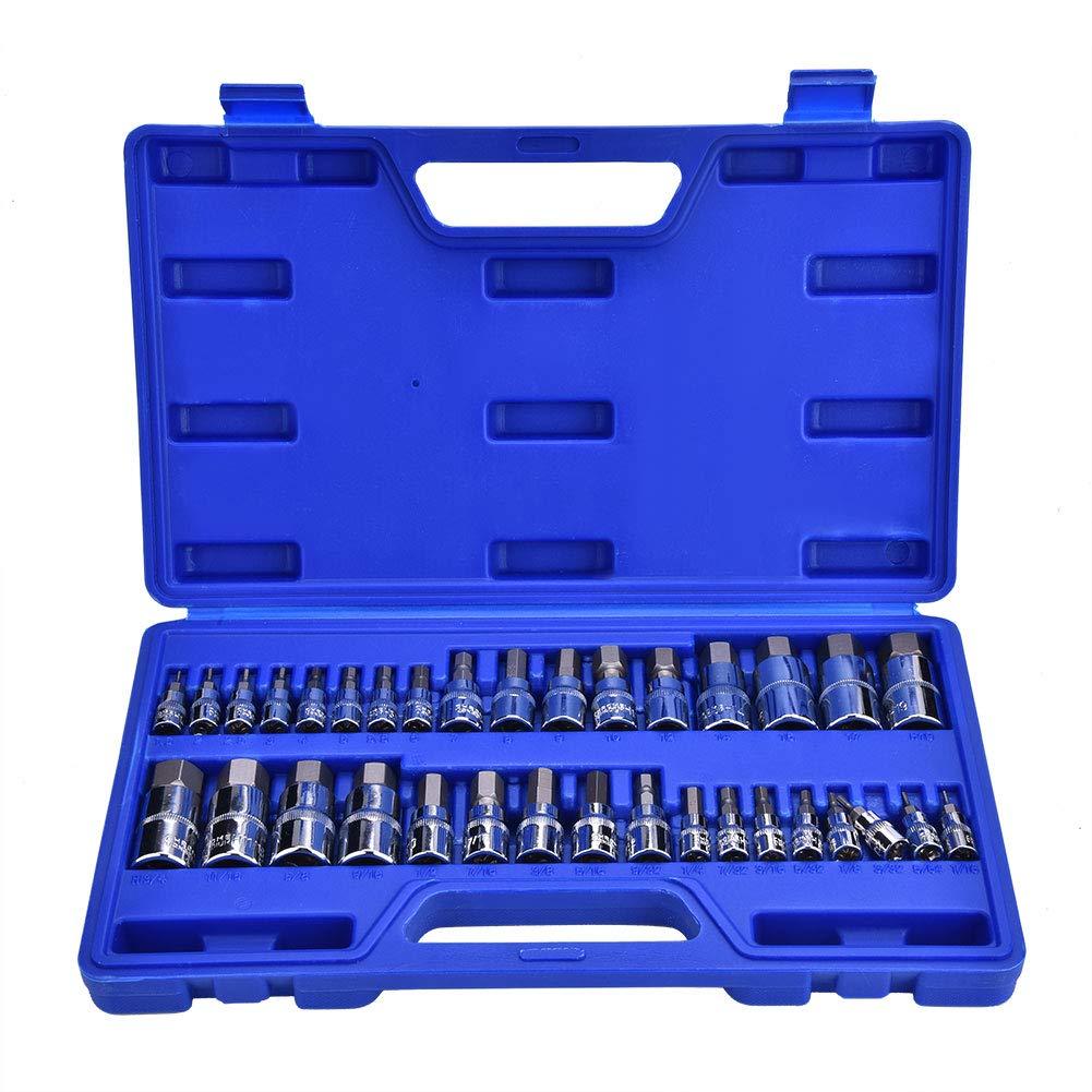 Lot de 34 douilles hexagonales pour cl/é Allen 6,35 mm 3//8 1//2 Outils de r/éparation de cl/és professionnels stock/és dans un /étui de transport bleu pratique