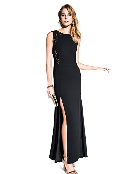 EDAS Luxury Artemide abito nero lungo con pizzo  Amazon.it  Abbigliamento fb1388e6e5d