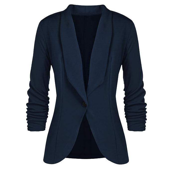 Mxssi Mujer Blazers y Chaquetas Trabajo Office Mujer Suit Slim Button Business Mujer Blazer Abrigo Azul