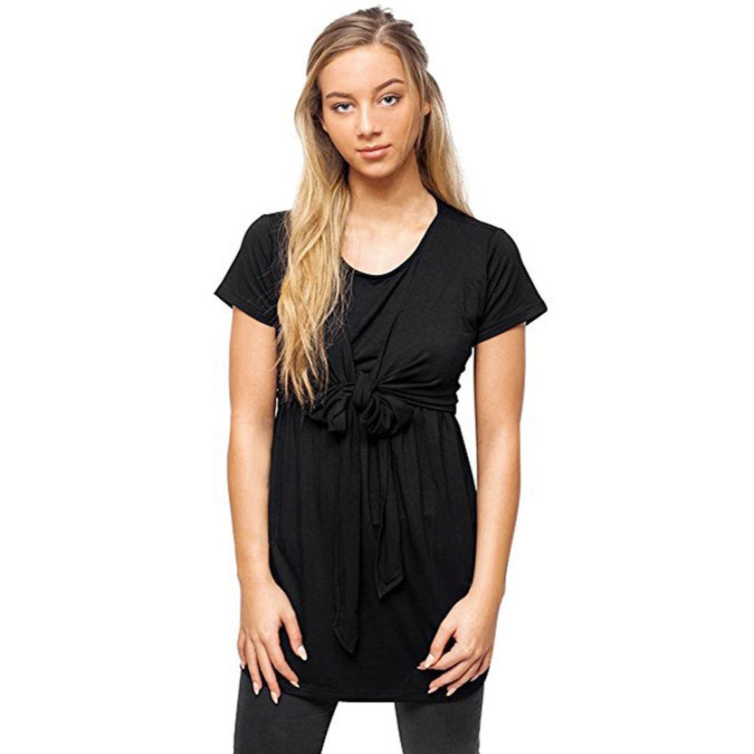 YANG-YI Clearance, Hot Fashion Women Summer Maternity Nursing Breastfeeding Pregnant Top Blouse (Black, US M=Asian L)
