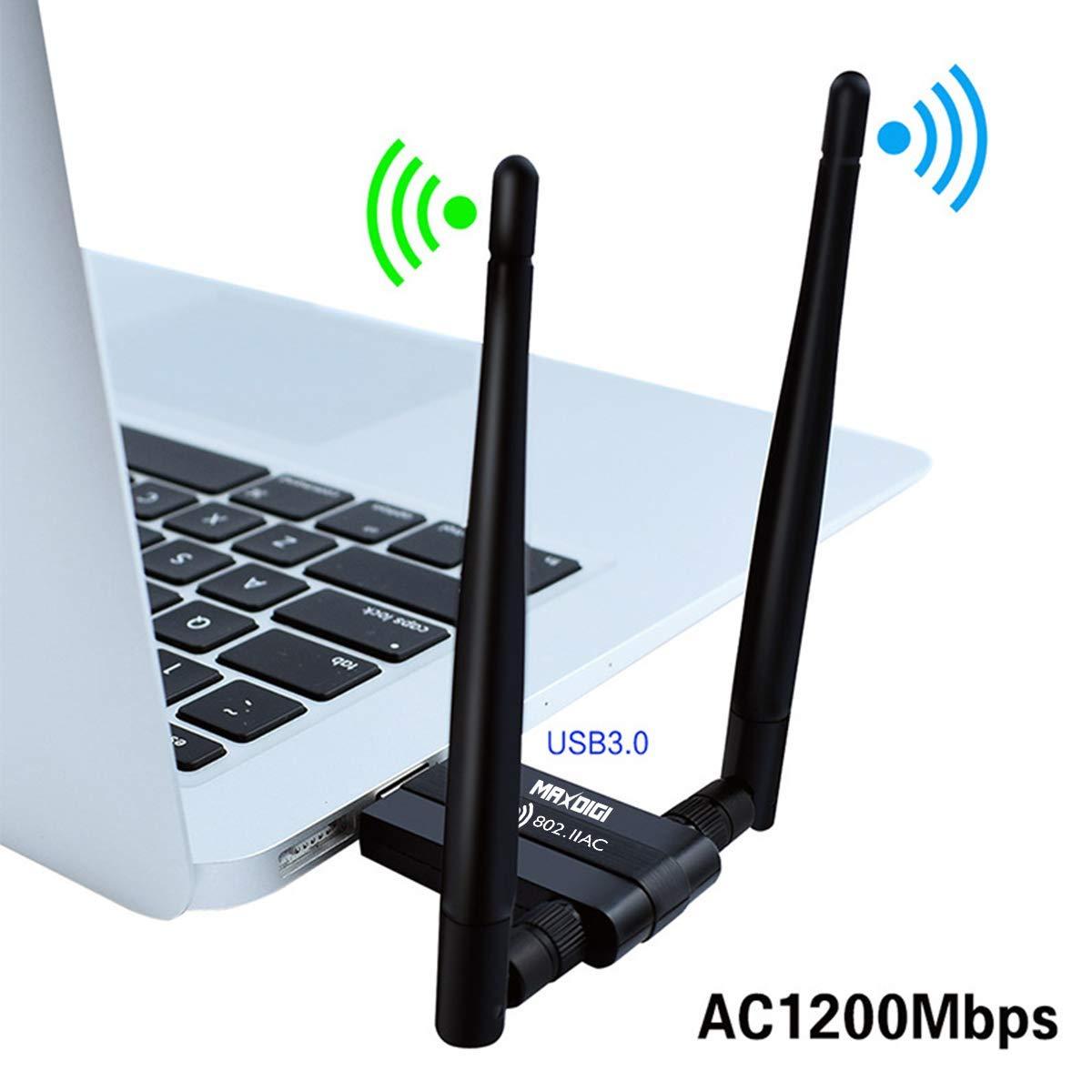 Mac OS Linux2.6X Adaptador inal/ámbrico USB AC1200 Mbps USB WiFi adaptador de red inal/ámbrica para PC//escritorio//port/átil//tableta 2.4G//5G 5dBi Dual Antena compatible con Windows 10//8 .1//7//Vista//XP