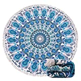 Genovega (23 Options Thick Round Beach Towel Blanket - Blue Boho Mandala Large Microfiber Terry Beach Roundie Circle Picnic Carpet Yoga Mat with Tassel for Women Two,High Color fastness