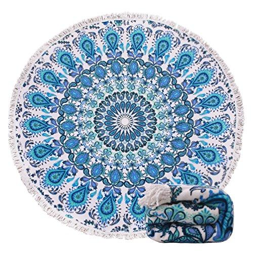 Genovega (23 Options Thick Round Beach Towel Blanket - Blue