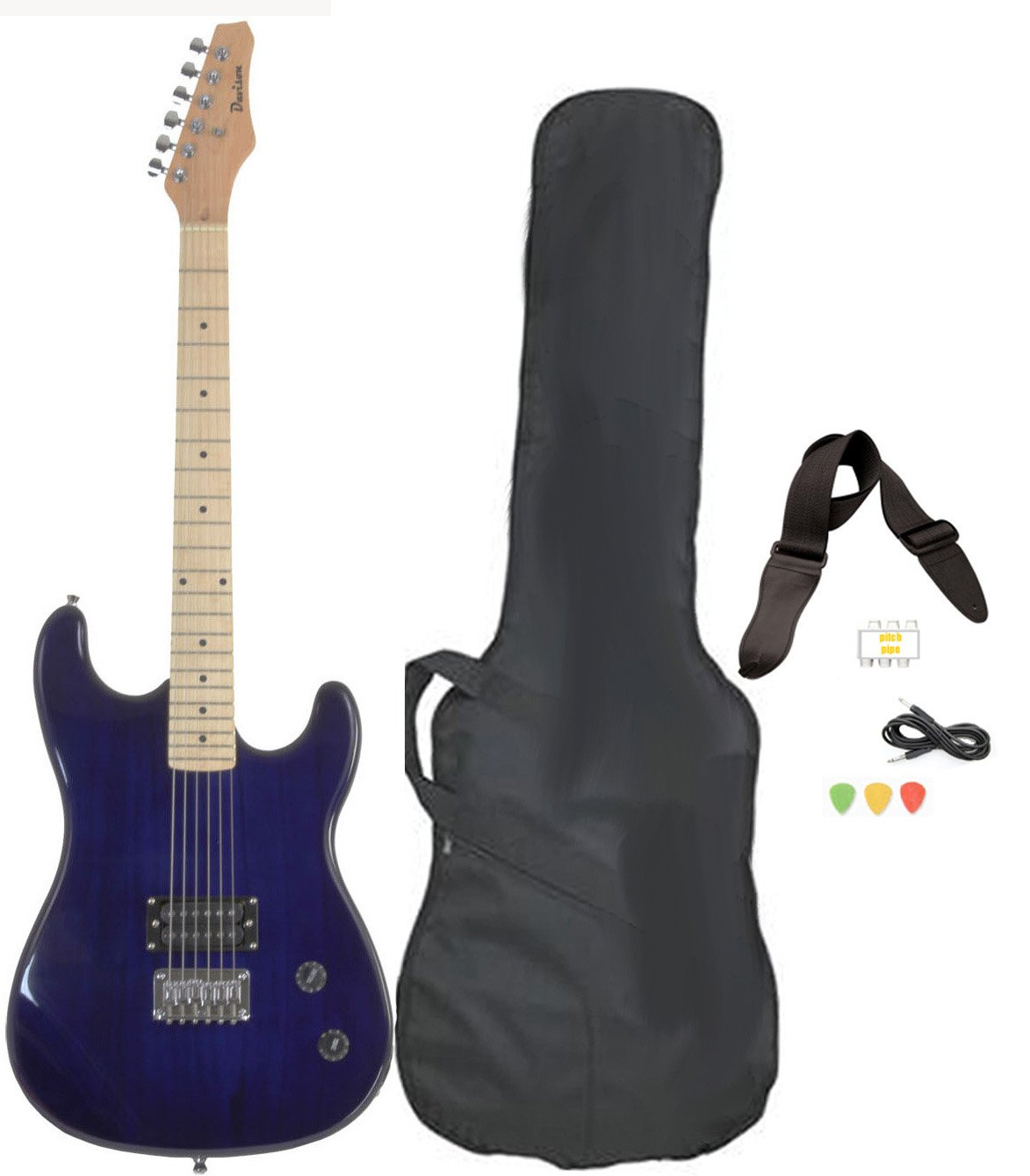 Davison Guitars GTR235 X CSE BLUE Full Size Electric Guitar with Case Strap Pics & Pitch pipe Tuner