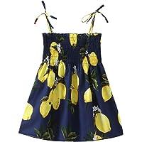 Halter Lemon Dress for Girls Baby Girl Floral Summer Dress Elastic Strap Print Beach Dresses Casual for Toddlers Kids…