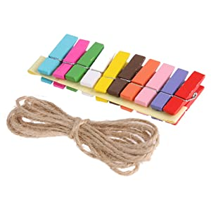 10 pcs Colorful Hanging Photo Frame with Colorful Wooden Clips and Rope (Outer Size 9 * 9.5 cm, Inner Size 4.5 * 6 cm)