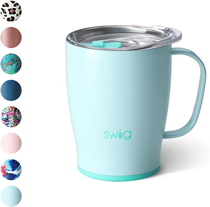 Swig Life 18oz Triple Insulated Travel Mug with Handle and Lid, Dishwasher Safe, Double Wall, and Vacuum Sealed Stainless Steel Coffee Mug in Seaglass Print (Multiple Patterns Available)