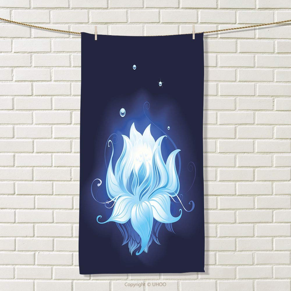 smallbeefly Floral Travel Towel Zen Lotus with Dew Drops Reflected in Dark Water Background Yoga Spirit Image Quick-Dry Towels Indigo Sky Blue Size: W 27.5'' x L 42''