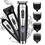 Hatteker 3 in 1 Mens Beard Trimmer Waterproof Nose Hair Trimmer Cordless Hair Clippers with LED Display USB Rechargeable Fathers Day Gifts Husband